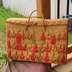 Unique vintage wicker picnic basket